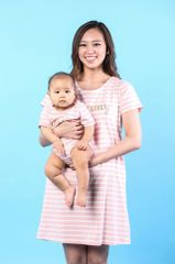 Light Pink Vintage Nursing Dress & Baby Romper