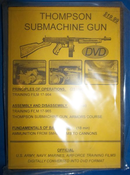 THOMPSON SUBMACHINE GUN SMG NATIONAL ARCHIVE COMPILED TRAINGING FILM DVD
