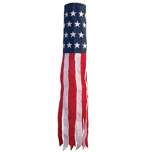 "U.S. Stars and Stripes Embroidered 40"" Windsock"