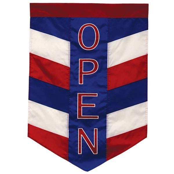 Open Patriotic Applique Garden Banner