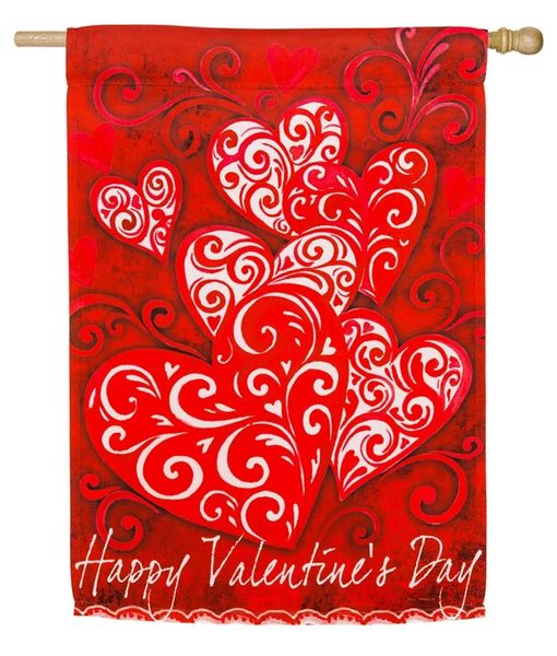 Valentine Scroll House Flag