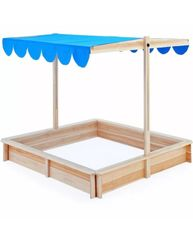 Wooden Sandpit with Canopy Sun Shade
