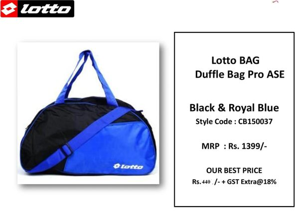 affed37802cd Lotto Duffle Bag Pro ASE Black and Royal Blue ASE CB150037