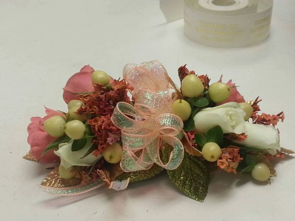 White And Peach With A Touch Of Gold Corsage Flowers Of Sandy Springs
