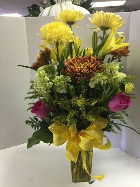 Spring mix with chrysanthemum hydrangeas lilies and roses spring mix with chrysanthemum hydrangeas lilies and roses mightylinksfo