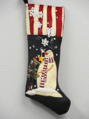 "#210 A Snowman's Christmas 25"" long stocking pattern"