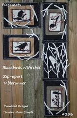 #256 Blackbirds n ' Birches pattern ( zip-apart table runner into placemats )
