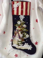 "#195 Let is Snow 25"" long snowman stocking"