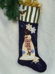 "#159 "" Snowdays"" snowman 25"" long stocking pattern"