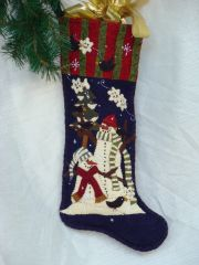 "#158""Snowpals"" snowmen 25"" long stocking pattern"