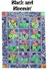 "Quilt Pattern - Black 'n' Bloomin'-86"" x 68"""