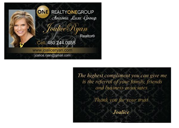 Realty One Group Joalice Ryan Business Cards Greggory Design
