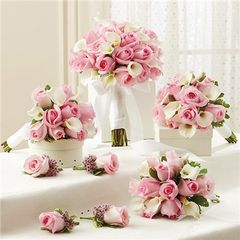 PINK PERSONAL PACKAGE (1 PINK BRIDAL BOUQUET, 3 BRIDESMAID BOUQUETS AND 4 BOUTONNIERES - wed32