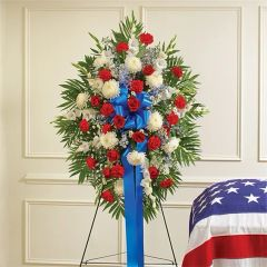 RED, WHITE & BLUE SYMPATHY STANDING SPRAY- SYM01