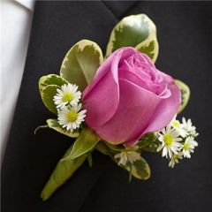 PURPLE ELEGANCE BOUTONNIERE- ROSE - wed27
