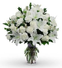 Classic All White Sympathy Bouquet - hom02