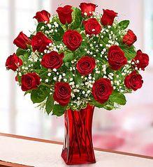 18 Premium Red Roses in Red Vase- lov05