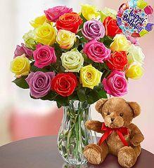 Happy Birthday Assorted Roses, 24 Stems- bir14
