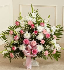 Tribute Pink & White Floor Basket Arrangement,large- sym35