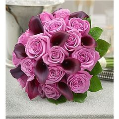 PURPLE ELEGANCE ROSE & MINI CALLA LILY BOUQUET - wed43