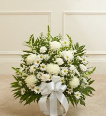Heartfelt Tribute White Floor Basket Arrangement- sym30