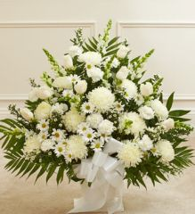 Heartfelt Tribute White Floor Basket Arrangement ,large- sym31