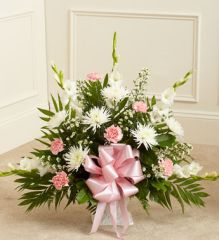 Tribute Pink & White Floor Basket Arrangement- sym36