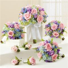SPRING PERSONAL PACKAGE (1 SPRING BRIDAL BOUQUET, 3 BRIDESMAID BOUQUETS AND 4 BOUTONNIERES - wed31