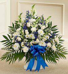 Tribute Blue & White Floor Basket Arrangement,large- sym33