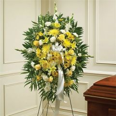 YELLOW & WHITE SYMPATHY STANDING SPRAY- sym02