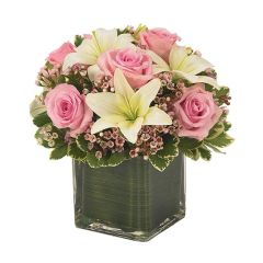 PINK ROSE & LILY CUBE BOUQUET- new06