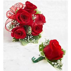 RED ROSE CORSAGE AND BOUTONNIERE - wed21