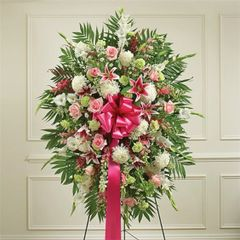 MULTICOLOR PASTEL SYMPATHY STANDING SPRAY- sym14