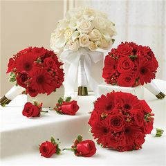 RED AND WHITE PERSONAL PACKAGE (1 WHITE BRIDAL BOUQUET, 3 BRIDESMAID BOUQUETS AND 4 BOUTONNIERES -wed30