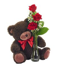 Classic Bud Vase Roses with Bear - plu11