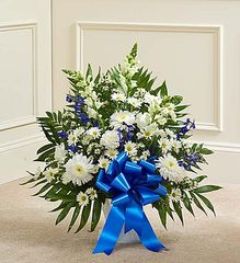 Tribute Blue & White Floor Basket Arrangement- sym32