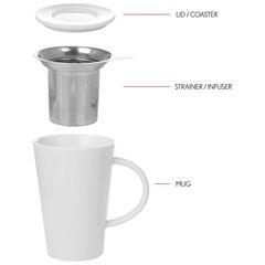 Porcelain Tea Steeping Mug 13.5oz (400 ml) with free sample bag of loose tea