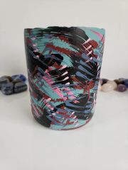Upcycled Hand Painted Wine Bottle Fragrant Soy Candle 12.5 ounces