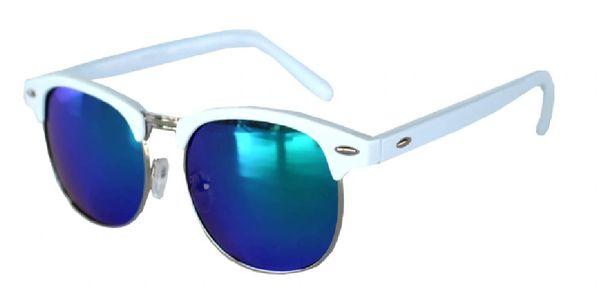 Half Frame White Silver Metal Frame Blue-Green Lens