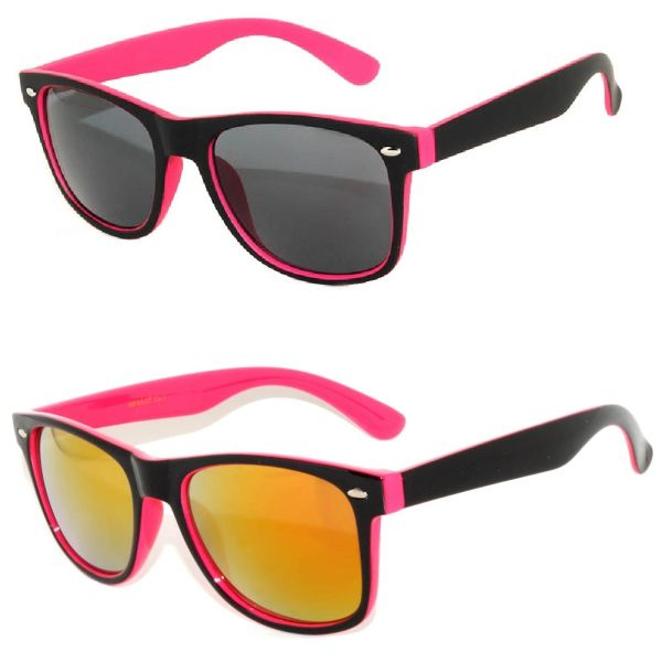 2 Pack Retro Two-toned Pink 1 Smoke & 1 Red Lens