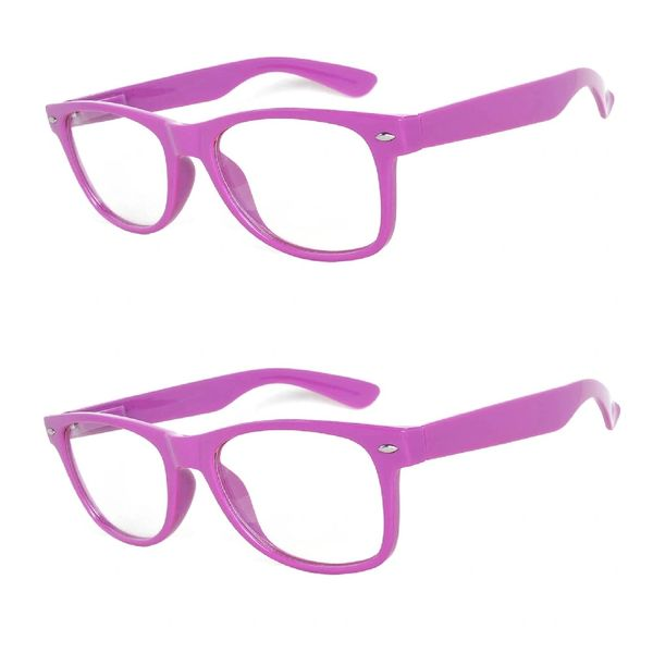 Retro Clear Lens Purple - 2 Pair