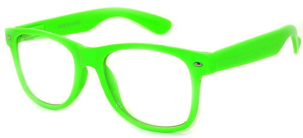Retro Clear Lens Green - 2 Pair