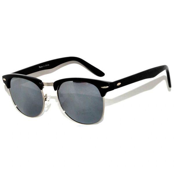 Half Frame Black Silver Smoke Lens