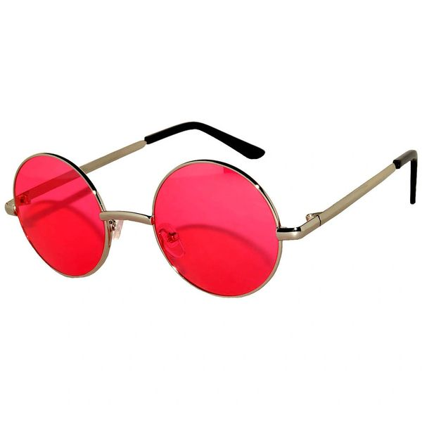 Round Silver Red Lens
