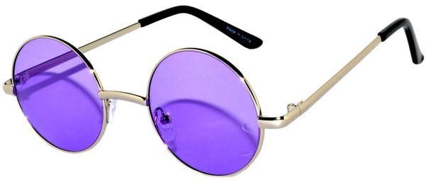 Round Silver Purple Lens