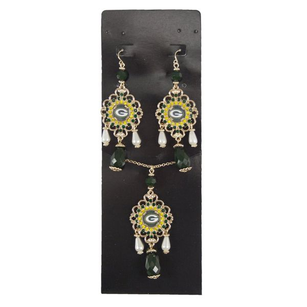 NFL Green Bay Packers Baroque Necklace and Earrings Collection