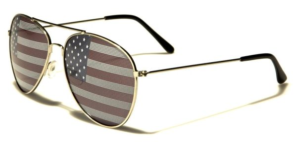 1028 USA Flag Aviator Silver