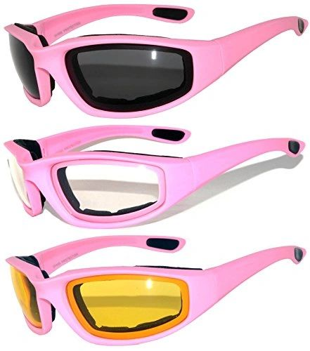 3 Pack Assorted Lens 750 Padded Motorcycle Pink Frame