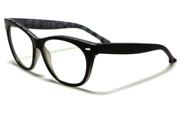 Retro Cat Eye Clear Lens Black Marble