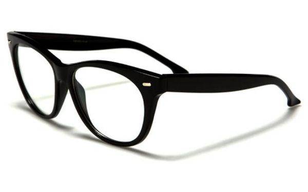 Retro Cat Eye Clear Lens Black
